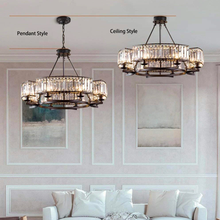 Contemporary Round Island Crystal Chandelier - Rustic Vintage Industrial design - details
