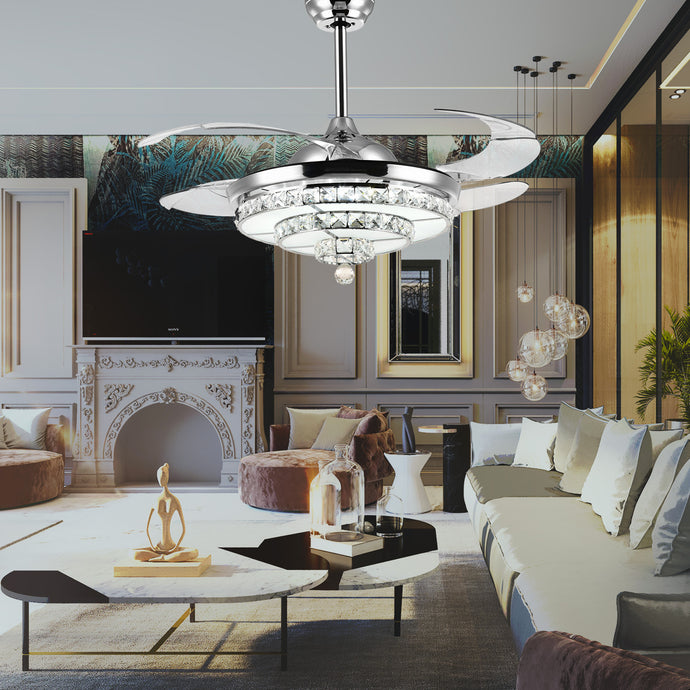 Crystal Ceiling Fan With Angular Design - Living Room