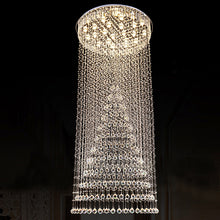 Contemporary Luxury Round Design Raindrop Crystal Chandelier With Warm Light