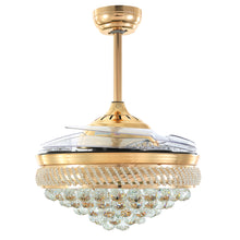 Gold Crystal Ceiling Fan With Blades Retracted