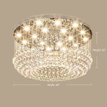 Petal Shape Raindrop Crystal Chandelier with Round Base - Side view