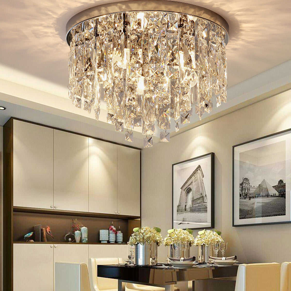 Contemporary Round Crystal Chandelier Flush Mount Ceiling Lights Sofary