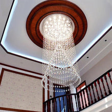 Contemporary Luxury Round Design Raindrop Crystal Chandelier - Staircase