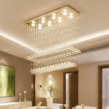 Contemporary Rectangular Ceiling Light - Double Layer Crystal Chandelier - Dining Room