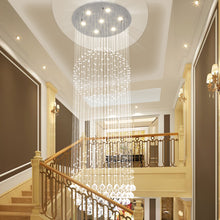 Double Sphere Raindrop Crystal Chandelier - Staircase
