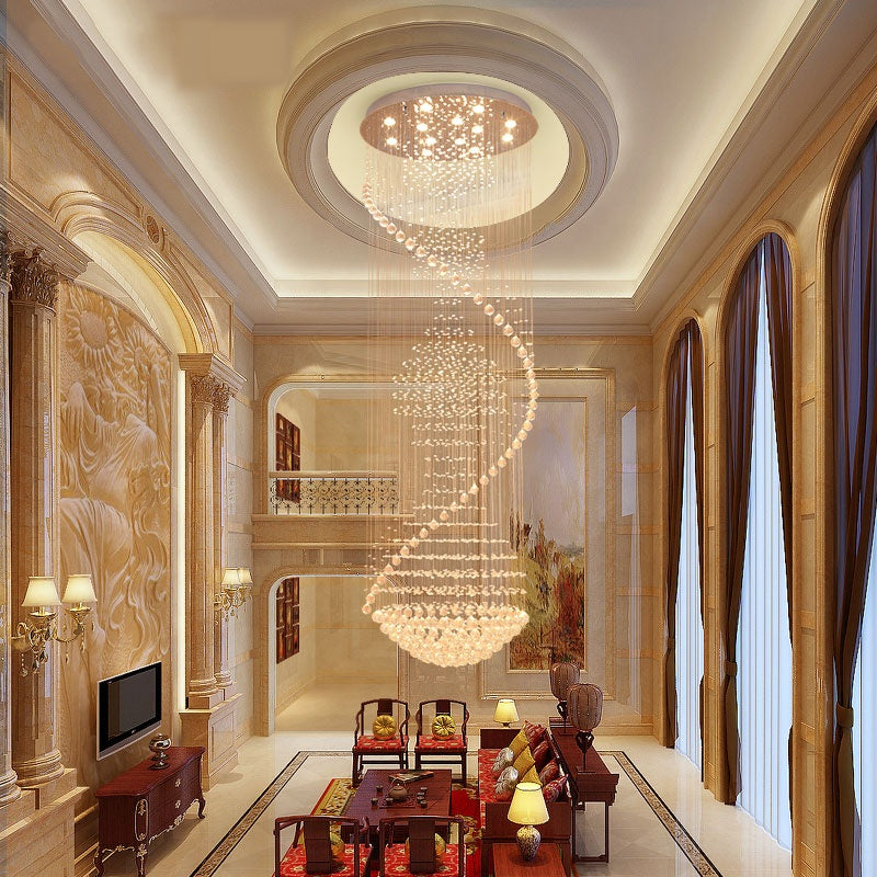 Large Raindrop Crystal Chandelier Ball Shape - Living Room