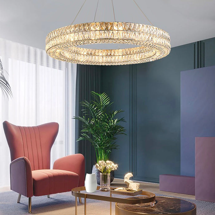 Luxury Style One Ring Crystal Chandelier - Living Room