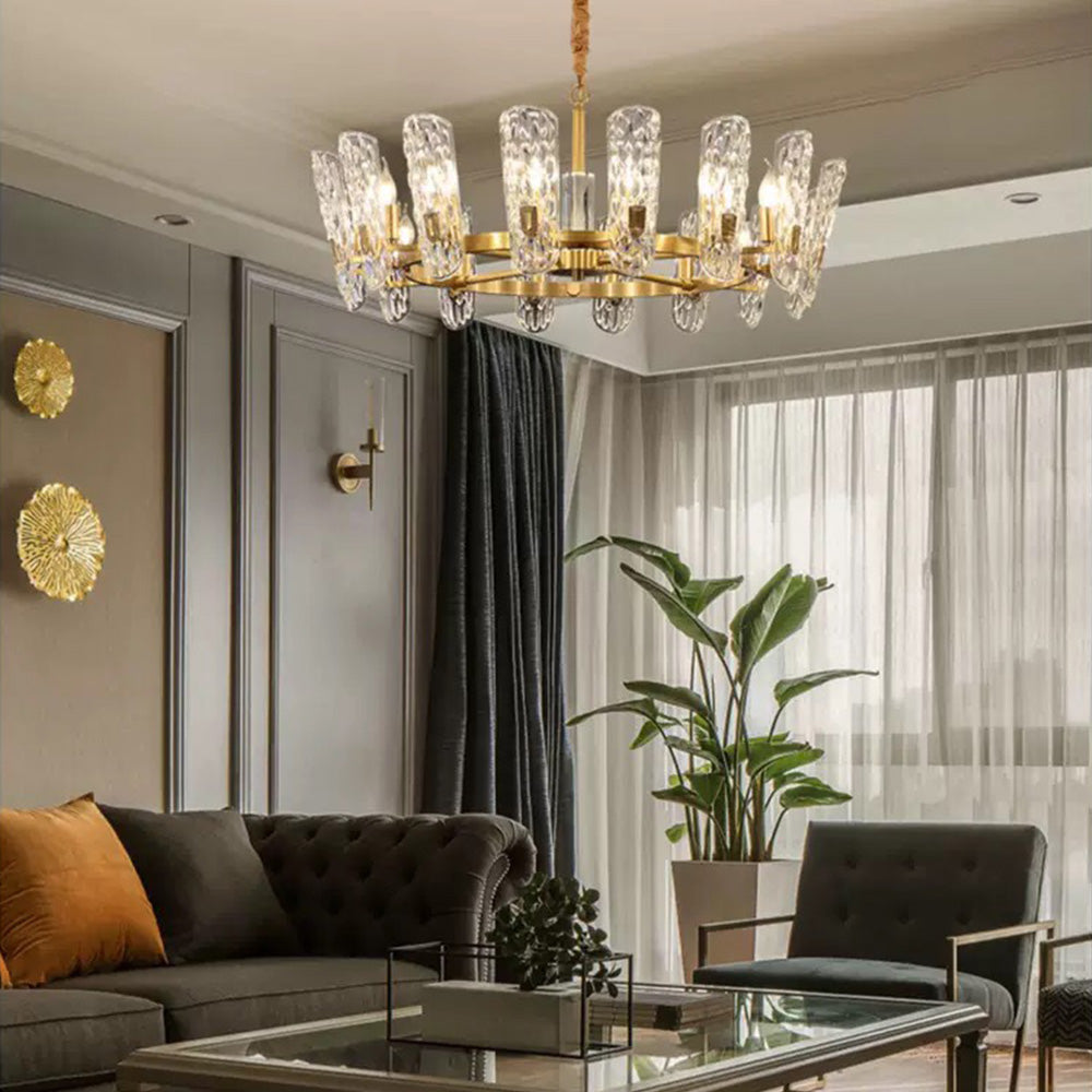 Luxury Copper Crystal Chandelier with Unique Wavy Shades - Living Room