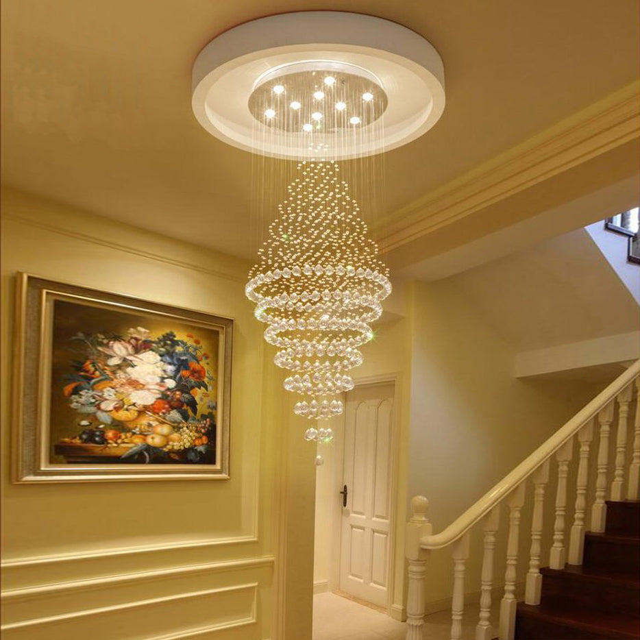 Luxury Modern Round Crystal Chandelier - Staircase Lighting Fixture - Staircase