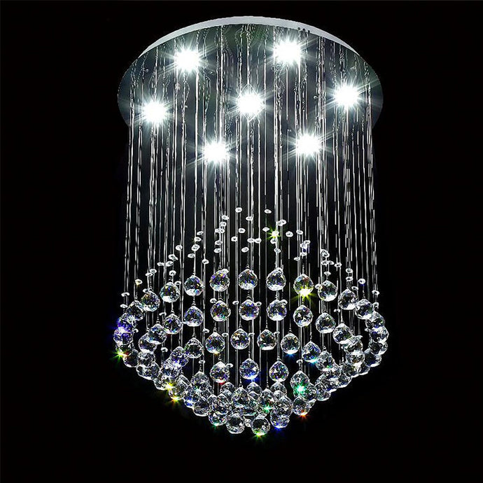 Modern Crystal Chandelier - Round Raindrop Ceiling Light