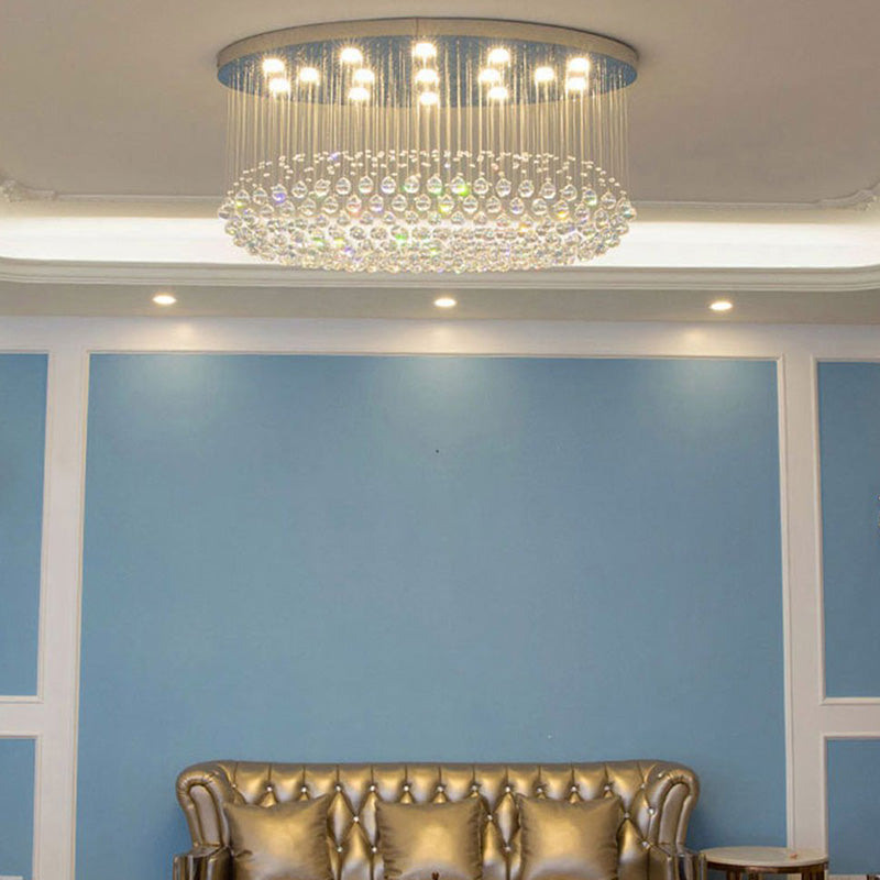Modern Oval Raindrop Crystal Chandelier - Elegant Ceiling Light - Living Room