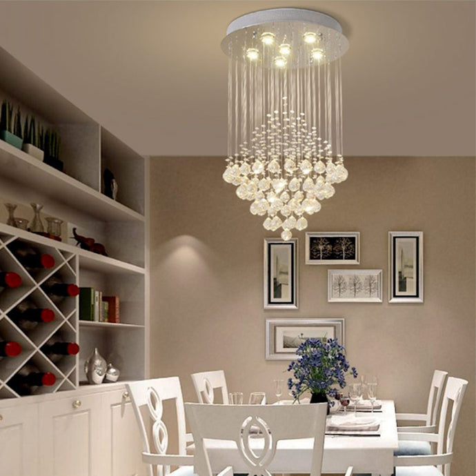 Elegant Raindrop Crystal Ball Chandelier - Dining Table Ceiling Lamp