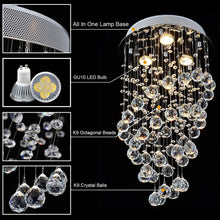 Modern Spiral Rain Drop Crystal Chandelier - Mini Flush Mount Ceiling Light -details