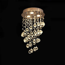 Modern Spiral Rain Drop Crystal Chandelier - Mini Flush Mount Ceiling Light - details
