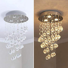 Modern Spiral Rain Drop Crystal Chandelier - Mini Flush Mount Ceiling Light