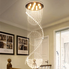 Modern Spiral Three Sphere Raindrop Crystal Chandelier Lighting - Staircase