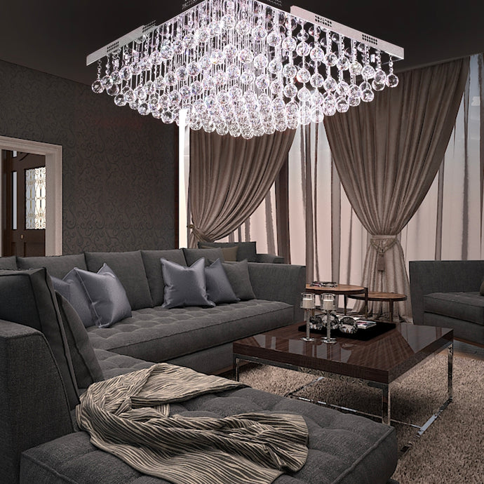 Modern Square Raindrop K9 Crystal Chandelier - Living Room Ceiling Light