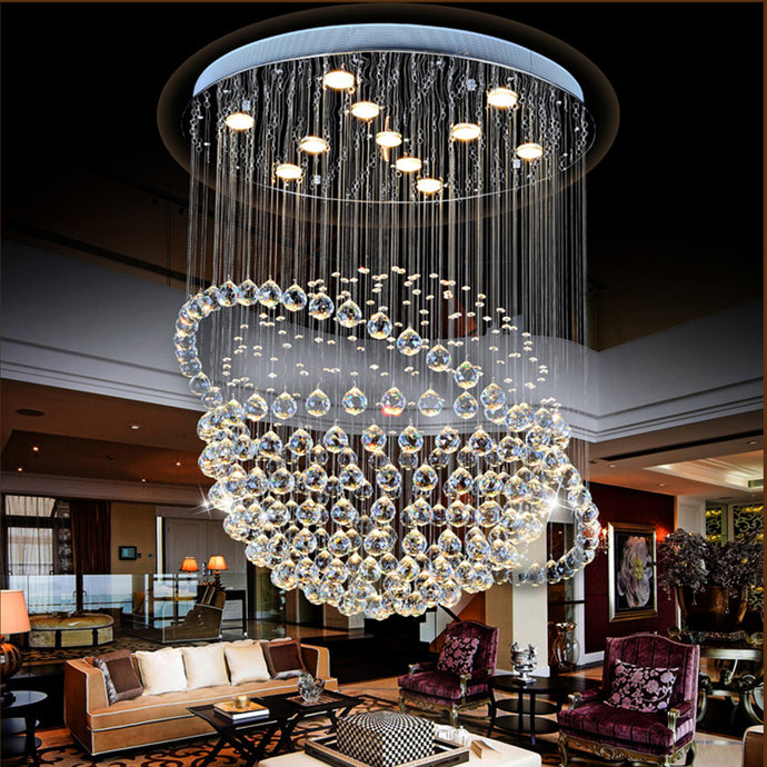 Modern Star Sphere Rain Drop Chandelier With Orbit - Living Room