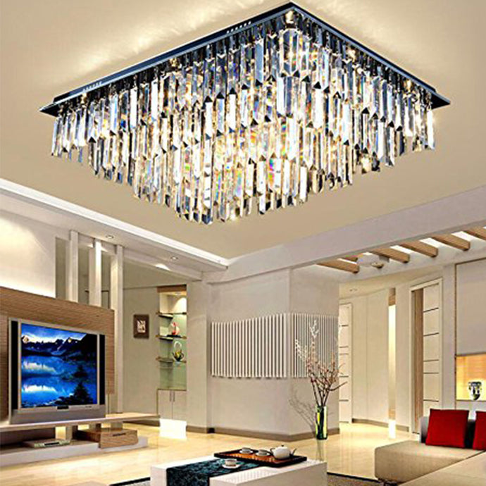Modern Vertical Bar Rectangular Crystal Chandelier - Four Layers Ceiling Light - Living Room