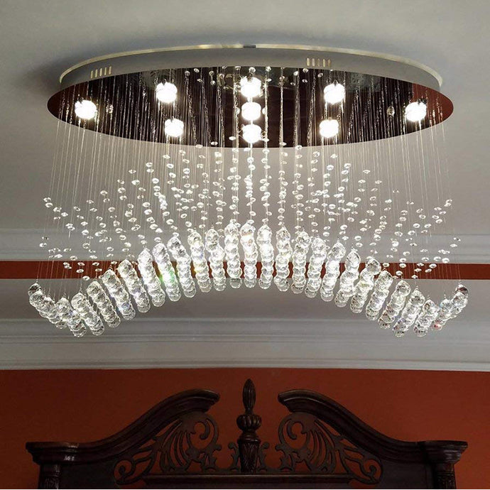 Modern Wave Rain Drop Clear Crystal Chandelier -  Oval Ceiling Light