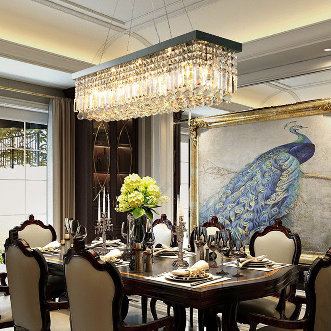 rectangular chandelier dining room | Rectangular Crystal Chandelier - Dining Room Pendant Light ...