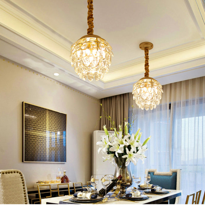 Pine Cone Shape Crystal Chandelier - Dining Room Pendant Light - Dining Room