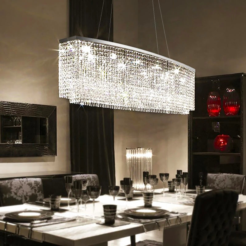 Rectangular Crystal Chandelier Dining Room - Raindrop Design