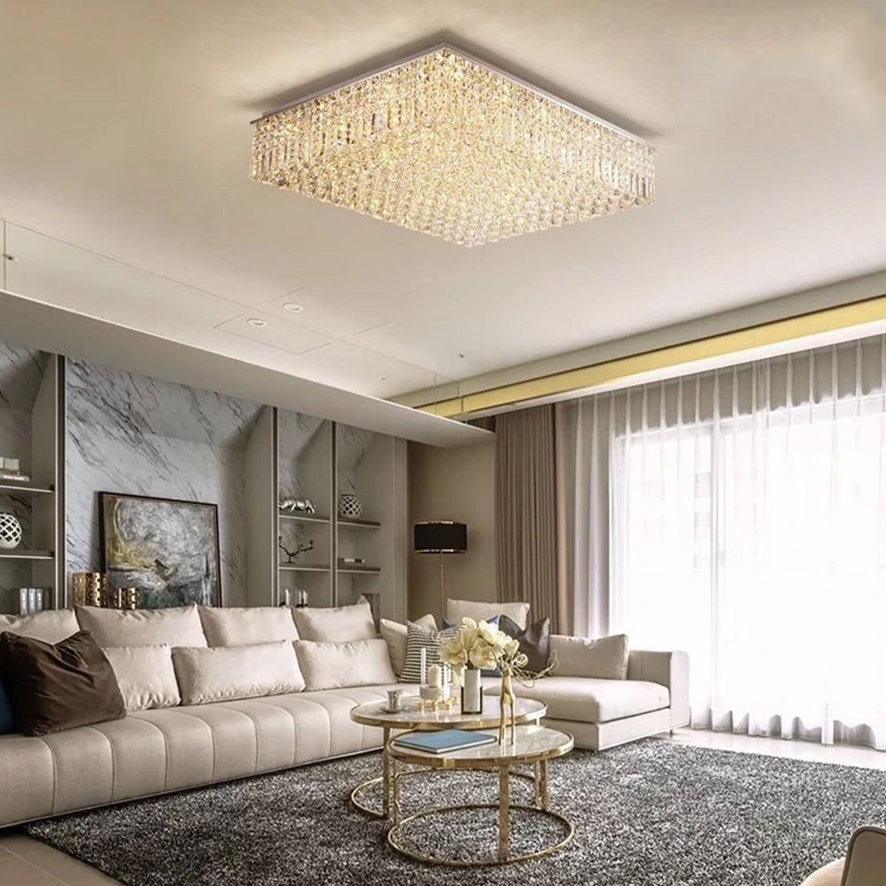 Rectangular Raindrop Crystal Chandelier Ceiling Lights - Living Room