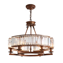 Contemporary Round Island Crystal Chandelier - Rustic Vintage Industrial design - Dining room in brown