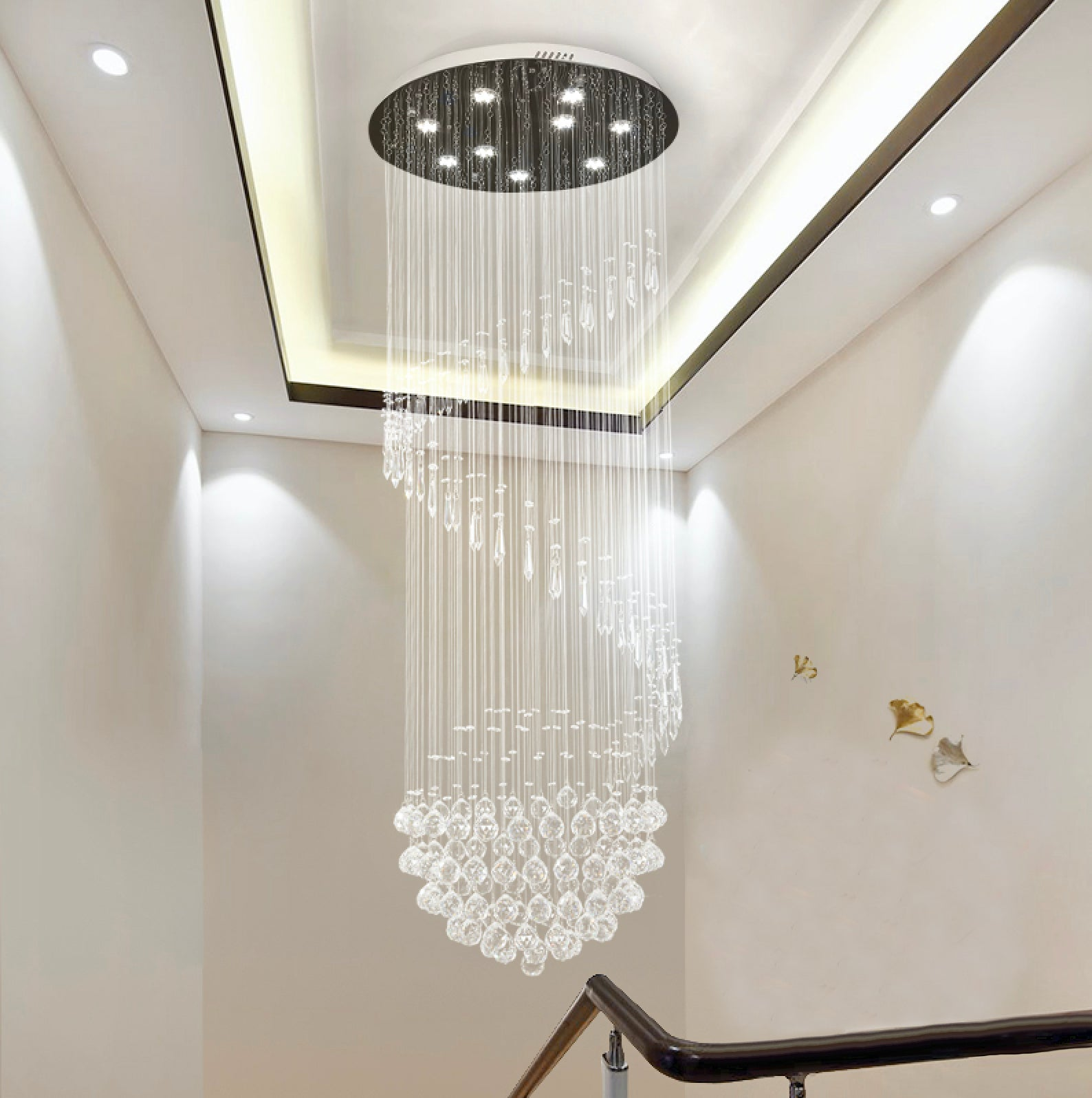Single Spiral Hemisphere Rain Drop Crystal Chandelier - Staircase