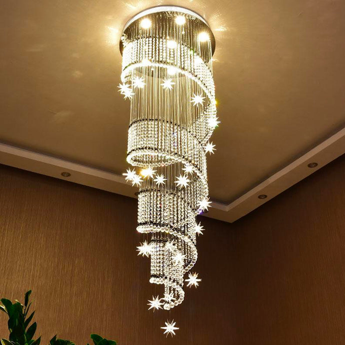 Spiral Meteor Shower Crystal Raindrop Chandelier