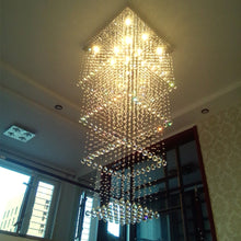 Square Long Crystal Raindrop Chandelier