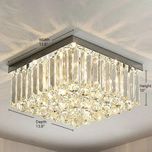 Square Rain Drop Crystal Ceiling Light - Contemporary Lighting Fixture
