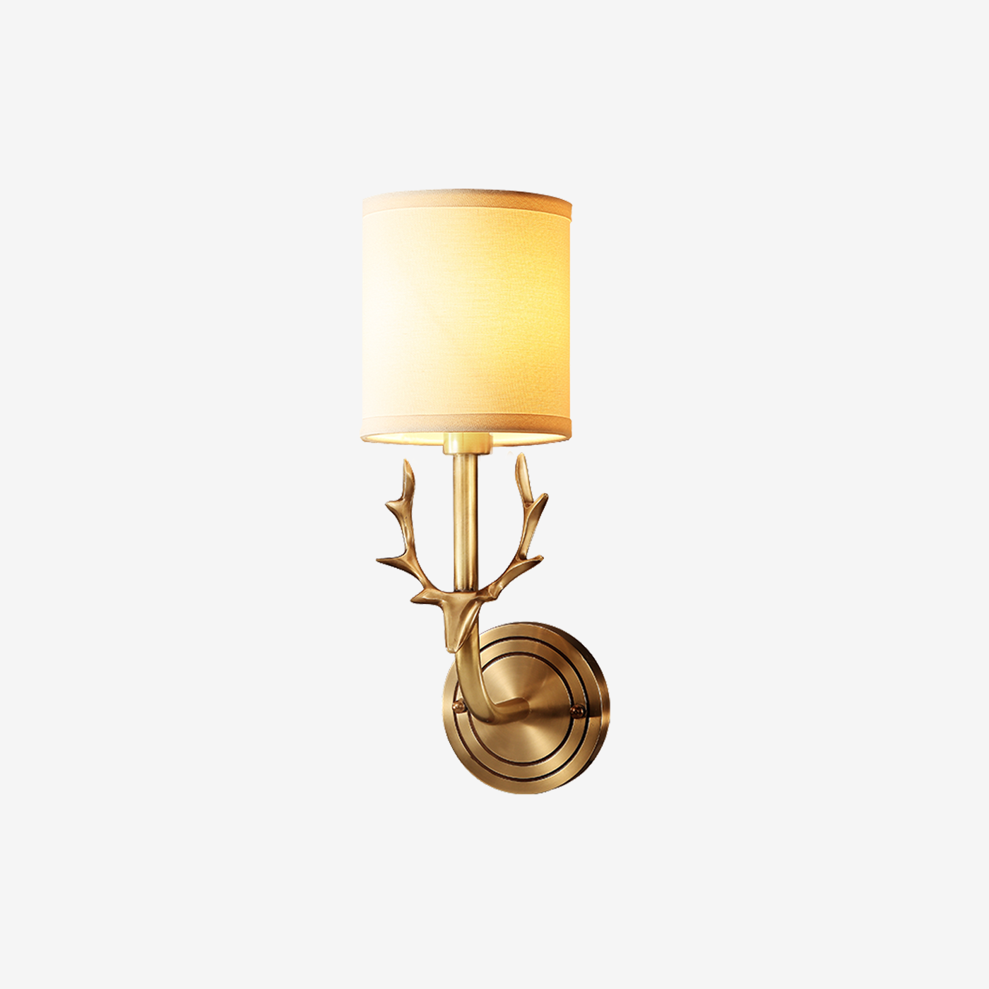 Deer Head Wall Lamp Brass Finish With Shades