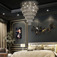Multi Layer Round Crystal Chandelier Ceiling Lights - Bedroom