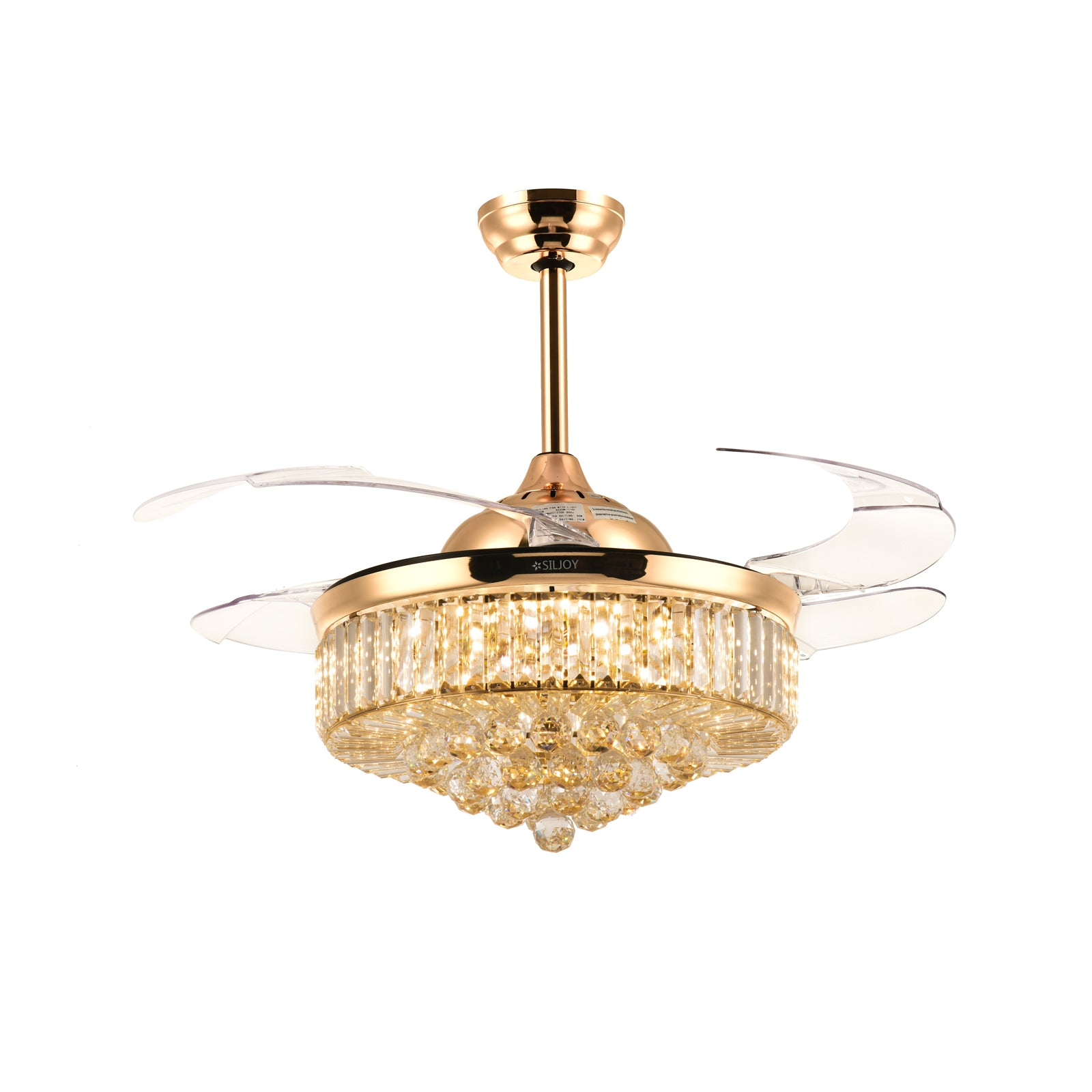 Gold Retractable Ceiling Fan   Chandelier Ceiling Fan With Blades Extended  Warm Light