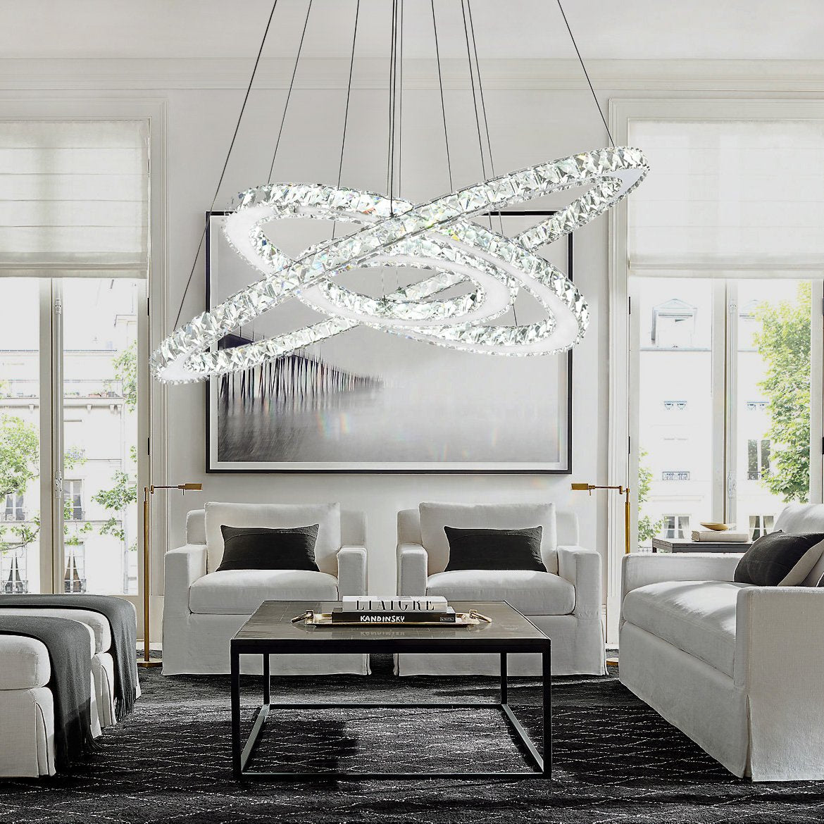 Nebula Design Three Ring Crystal Pendant Light - Living Room