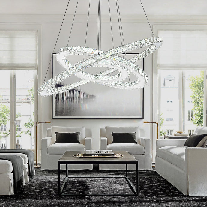 Nebula Design Three Ring Crystal Pendant Light