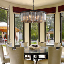 Black Crystal Chandelier - Round Design Pendant Light - Dining Room-3