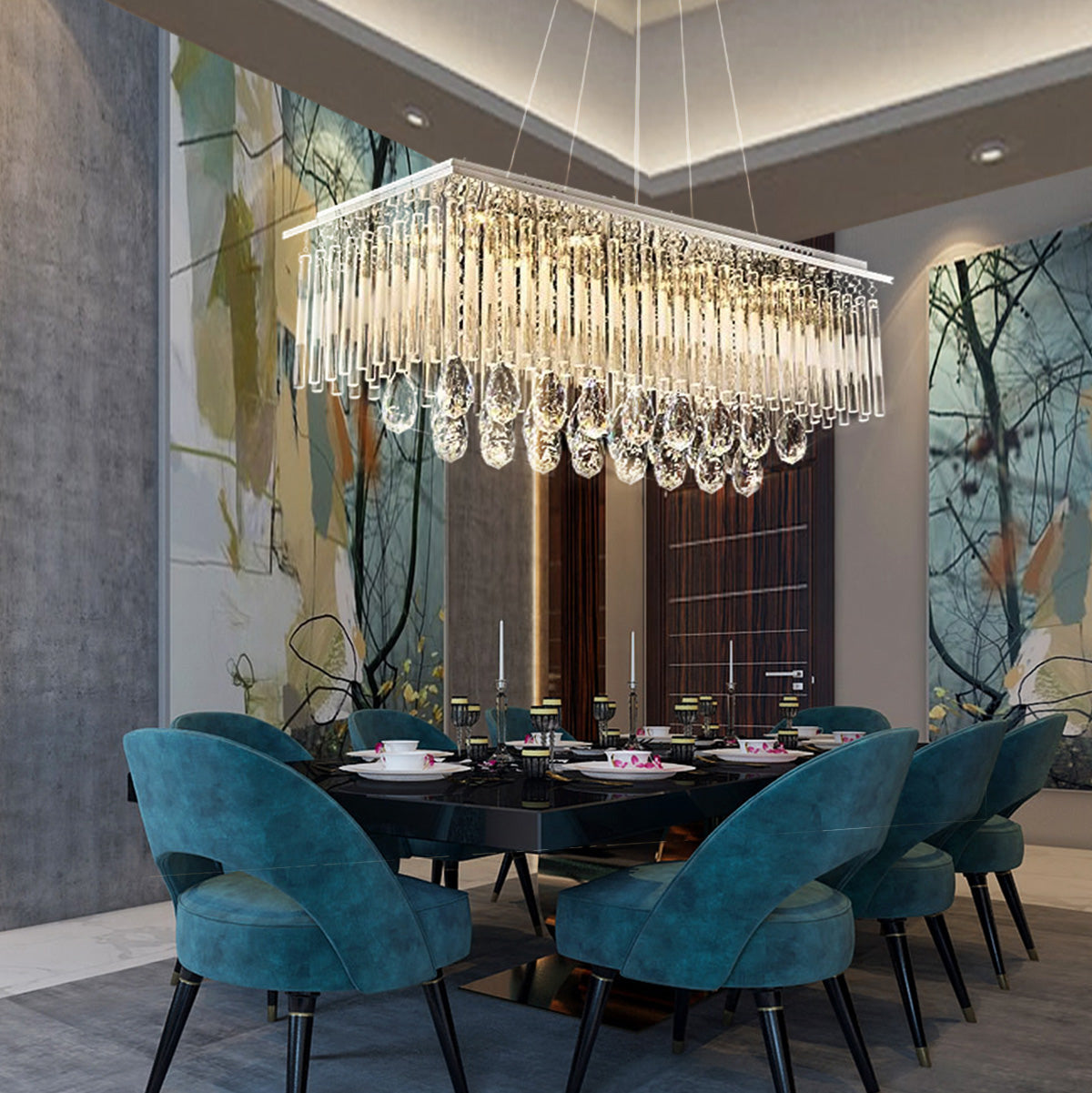 Rectangular Crystal Chandelier with Frosted Crystal Rods - Dining Room