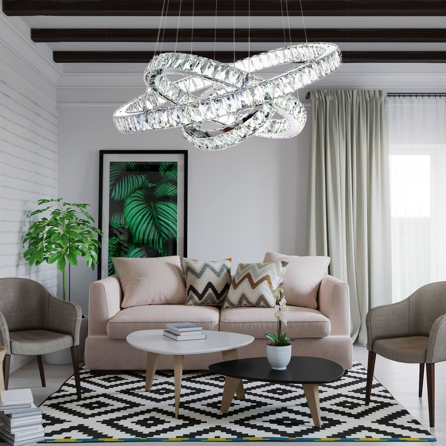 Neptune Three Rings Chandelier - Living Room
