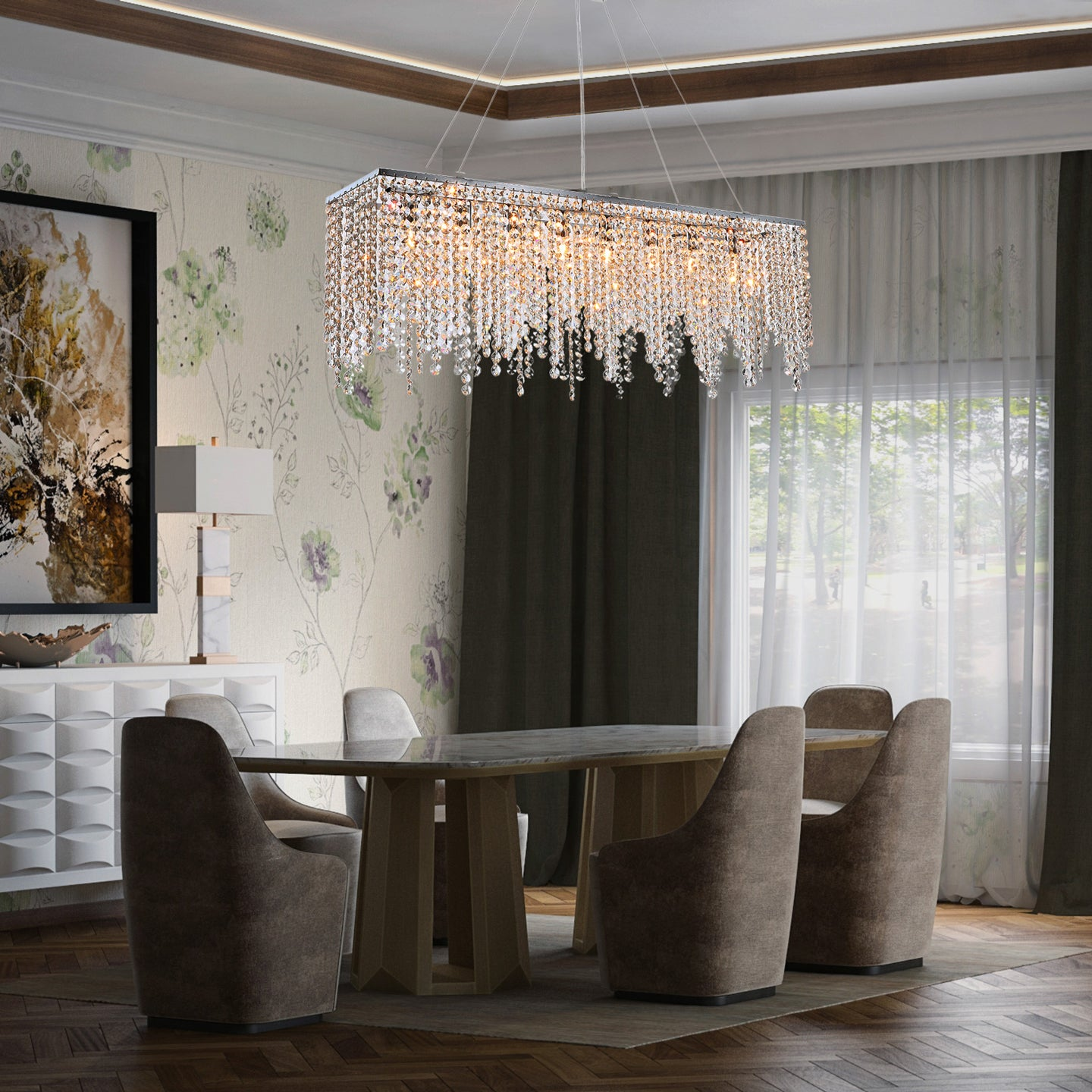 Raindrop Island Crystal Chandelier - Pendant Light - Dining room