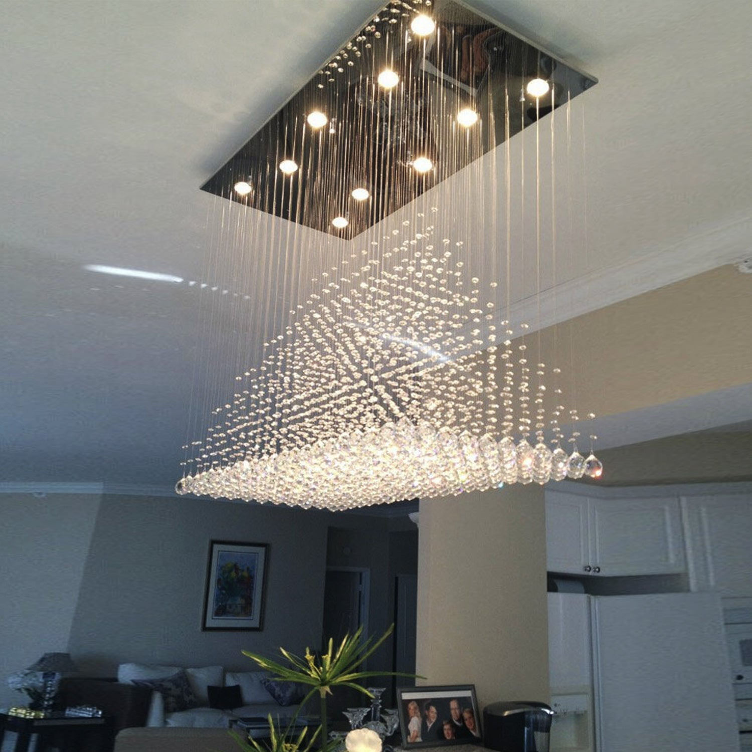 Rectangular Base Pyramid Raindrop Crystal Ceiling Light Sofary