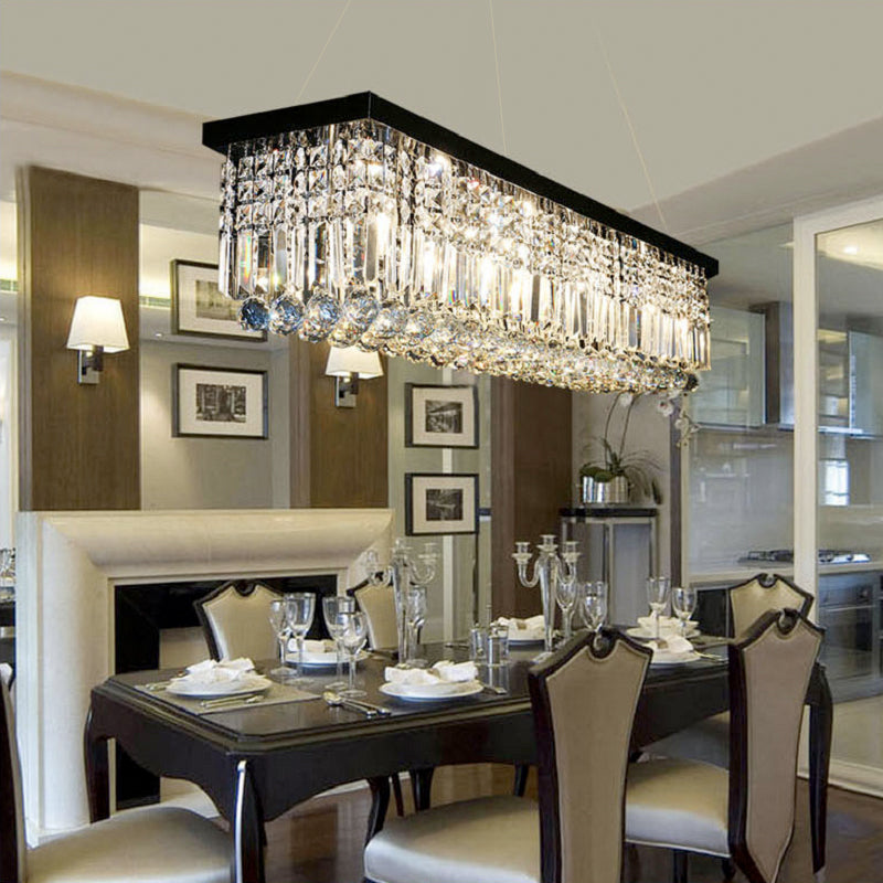 Rectangular Crystal Chandelier Dining Room Pendant Light Sofary