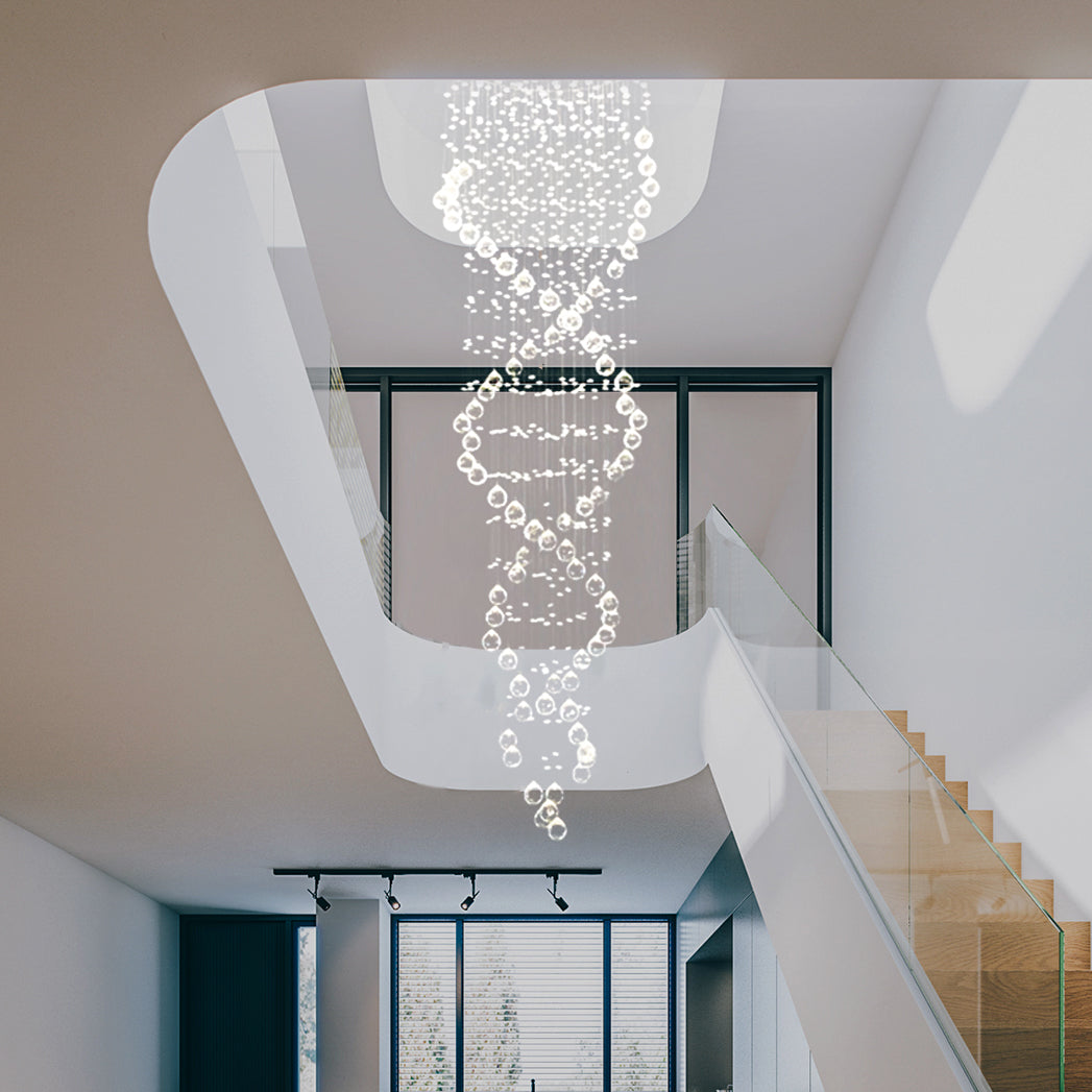 Lighting Basement Washroom Stairs: Double Spiral Raindrop Chandelier
