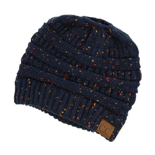 Heather Navy Messy Bun C.C Beanie