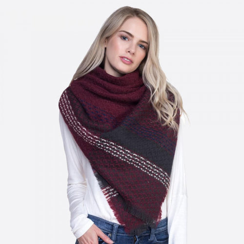Burgundy Plaid Blanket Scarf