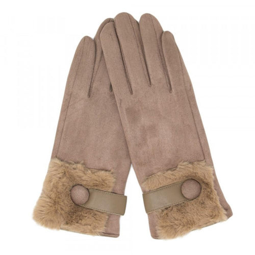 Tan Faux Suede Gloves