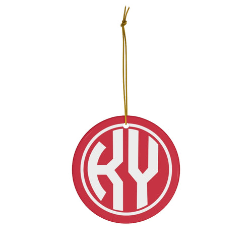 KY Red Round Ceramic Ornament