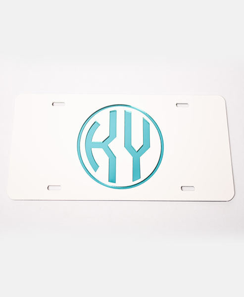 White/Teal License Plate